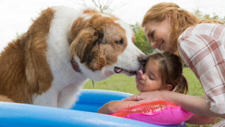 (from left) Bailey (voiced by Josh Gad), gives some love to CJ (Emma Volk) and her grandmother Hannah (Marg Helgenberger) in A Dog's Journey, directed by Gail Mancuso.